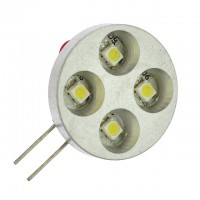 G4 Base Side-Pin 4-LED Light Bulb with Metal Bezel 12V AC/DC (Final Sale)