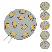 G4 Base Disc Type Side-Pin LED Light Bulb with 10xSMD2835 10-30VDC, Warm White 3100K (6-Pack)