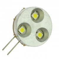 G4 Base Side-Pin 3-LED Light Bulb with Metal Bezel 12V AC/DC (Final Sale)