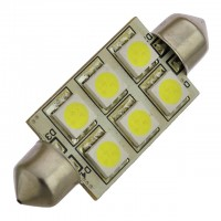 42mm Festoon High Power LED Light Bulb with 6xSMD5050 10-30V DC, Bright White