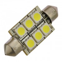 37mm Festoon High Power LED Dome Light Bulb with 6xSMD5050 10-30V DC, Bright White
