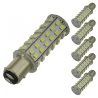 BAY15d Dual Contact Offset Pins Bayonet Base Tower Type LED Bulb with 60xSMD3528 10-30V DC (6-Pack)