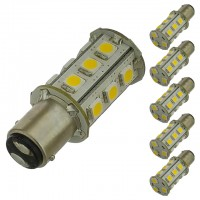 BAY15d Dual Contact Offset Pins Bayonet Base Tower Type LED Bulb with 18xSMD5050 10-30V DC (6-Pack)