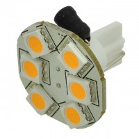 T10 194 Wedge Base Rear-Mount Disc Type LED Bulb with 6xSMD5050 12V AC/DC