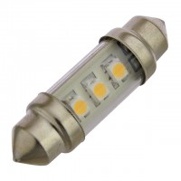 37mm Festoon LED Light Bulb with 3xSMD3528 in Clear Tube 10-30VDC 0.7W