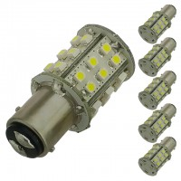 BAY15d Dual Contact Offset Pins Bayonet Base Tower Type LED Bulb with 30xSMD3528 10-30V DC (6-Pack)