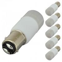 BAY15d Base Omnidirectional 2-Watt LED Light Bulb 12V AC/DC or 10-30V DC (6-Pack)