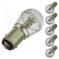 BAY15d Dual Contact Offset Pins Bayonet Base S8 0.7W LED Bulb 10-30V DC (6-Pack)