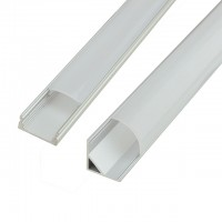 Aluminum Channel System with Cover, End Caps, and Mounting Clips, for LED Strip Installations, Pack of 5x 1m Segments