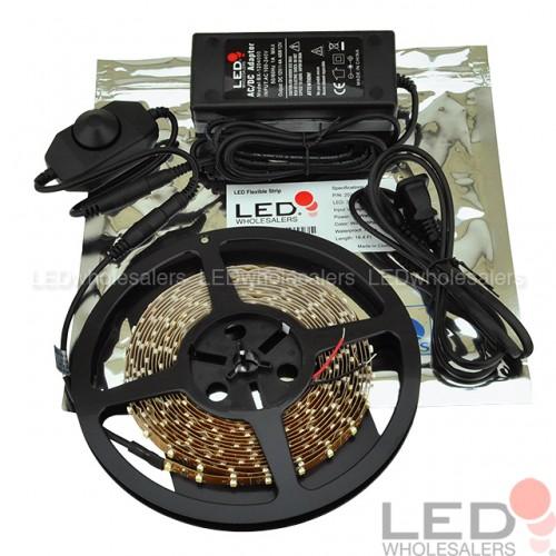 12V 16 4-ft Flexible Ribbon 300xSMD3528 LED Strip Light Kit