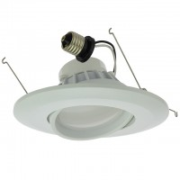 "6"" Recessed Dimmable 15W LED Adjustable Head Downlight with White Trim, ETL & ENERGY STAR"