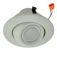 "4"" Retrofit Dimmable 10W LED Gimbal Downlight with White Trim, UL & ENERGY STAR"