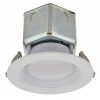 "4"" Dimmable Retrofit 10W LED Downlight White Trim 90-CRI with Junction Box, ETL & ENERGY STAR"