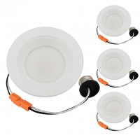 """4"""" Recessed Dimmable 9W LED Downlight with White Trim 90-CRI, ETL & ENERGY STAR (4-Pack)"""