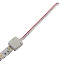 "Permanent LED Strip-to-Wire Connector with 4"" Wires for 2-Conductor Ribbons"
