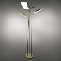 15-Watt Contemporary LED Floor Lamp with 3 Wavy Edge Light Modules in Sand White Finish