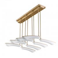 32-Watt LED Surface Mount Ceiling Light with 8 Pivoting Petals in Champagne Gold Finish, Warm White 3000K