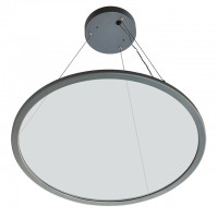 "22.8"" Slim Round Disc Dimmable LED Transparent Up/Down Pendant Light with Grey Trim, ETL-Listed"