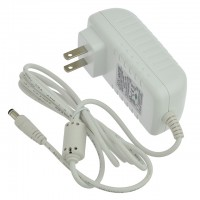 12V 2.5A 30W Wall-Mount AC/DC Power Adapter, 5.5x2.5mm DC Plug with Spring Clips, White, UL-Listed