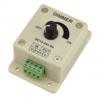 PWM Dimming Controller for LED Lights or Ribbon, 12-24V 8A