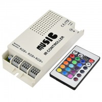72-Watt 3-Port Music Controller with Wireless IR Remote for Color-Changing LED Strips and Modules