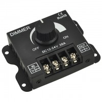 Heavy Duty PWM Dimming Controller for Single Color LED Strips and Modules, 12-24V 30A
