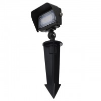 "Series-7 Low Voltage Compact 12W LED Landscape Flood Light with 1/2"" Threaded Knuckle Mount, Ground Stake, and Glare Shield"