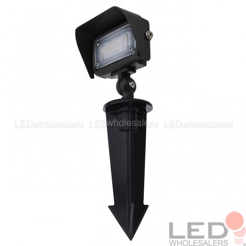 Series 7 Low Voltage Compact 12w Led Landscape Flood Light With 1 2 Threaded Knuckle Mount Ground Stake And Glare Shield