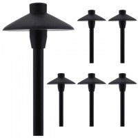 "MarsLG ALS1 Aluminum Low Voltage Landscape Accent Path and Area Light with 6.5"" Shade and 18"" Stem in Black Finish, Ground Spike and Free G4 LED Bulb (6-Pack)"