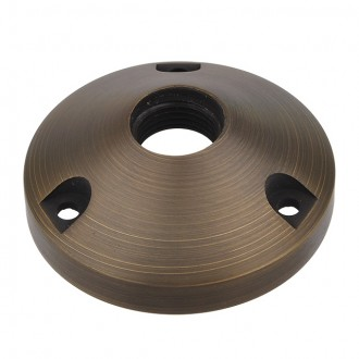 """MarsLG BRS1 Solid Brass Surface-Mount Base for Low Voltage Landscape Light with 1/2"""" NPT Thread in Antique Brass Finish"""