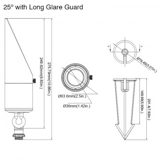 MarsLG BRS2 12-24V AC/DC Integrated 10W LED Low Voltage Landscape Directional 25º or 60º Spot Up Light in Dark Bronze Finish with Adjustable Glare Guard and Ground Spike