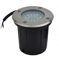 Low Voltage In-Ground LED Well Light with Brushed Stainless Steel Trim, 3W or 7W