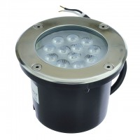 Low Voltage In-Ground LED Well Light with Brushed Stainless Steel Trim, 14W