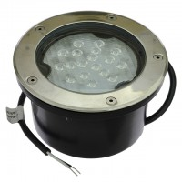 Low Voltage In-Ground LED Well Light with Brushed Stainless Steel Trim, 20W