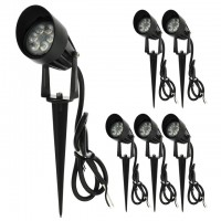 Low Voltage LED Outdoor Landscape Garden Metal Spot Light Fixture with Built-In Shade 12V AC/DC 7W (6-Pack)