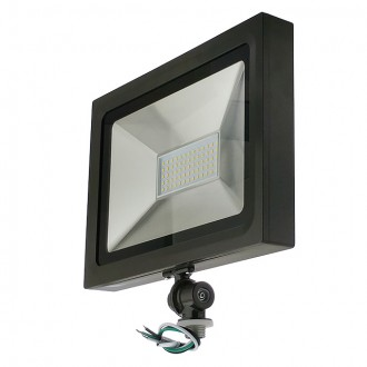 "Series-5 Ultra-Slim 50W LED Outdoor Security Flood Light Fixture with 1/2"" Threaded Knuckle Mount, UL-Listed"
