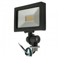 "Series-5 Ultra-Slim 15W LED Outdoor Security Flood Light Fixture with 1/2"" Threaded Knuckle Mount, UL-Listed, 3000K"