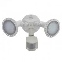 Twin Head Outdoor Motion-Sensing White LED Security Flood Light 22-Watt