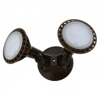 22W Twin-Head Outdoor Security Light with Brown Finish, Warm White 3000K