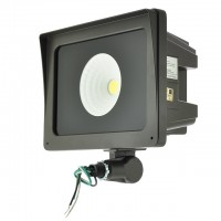 """Series-4 Heavy Duty 35W or 65W LED Outdoor Security Flood Light Fixture with 1/2"""" Threaded Knuckle Mount, UL-Listed & DLC-Qualified, Daylight 5000K"""