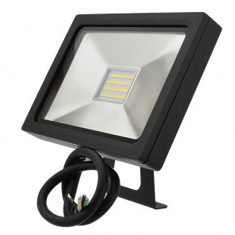 Series-5 Ultra-Slim 25W LED Outdoor Security Flood Light Fixture with Bracket Mount, UL-Listed, Daylight 5000K