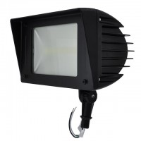 """50W LED  Outdoor Flood Light Fixture with 1/2"""" Threaded Knuckle Mount in Black Finish, Daylight 5000K"""