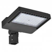 150W LED Parking Lot Low Profile Shoebox Area Security Light with Swivel Mounting Arm, ETL-Listed, Daylight 5000K