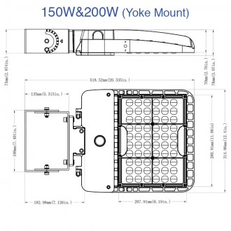 150W or 200W LED Parking Lot Low Profile Dimmable Shoebox Area Security Light, UL-Listed & DLC-Qualified, Daylight 5000K