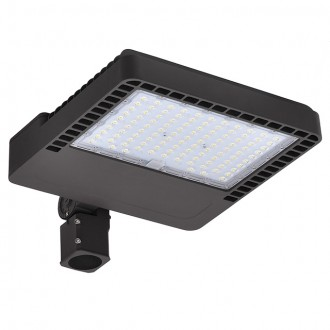 300W LED Parking Lot Low Profile Shoebox Area Security Light with Swivel Mounting Arm, ETL-Listed, Daylight 5000K