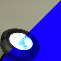 18-Watt IP68 Waterproof High Power 2-Color White+Blue Underwater Round LED Marine Boat Yacht Light