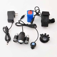 High Power 3-LED Bike Light with Push Button Switch, Battery Pack, & Charger