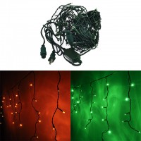 Linkable 16.4-ft 128-LED Christmas Holiday Icicle Lights with Green Wire