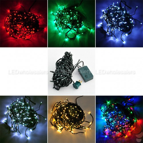 33 ft 100 led christmas holiday light string with green wire and integrated multifunction controller - Multifunction Christmas Lights