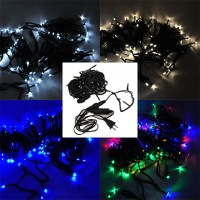 Linkable 33-ft 100-LED Holiday String Light with Dark Green Wire